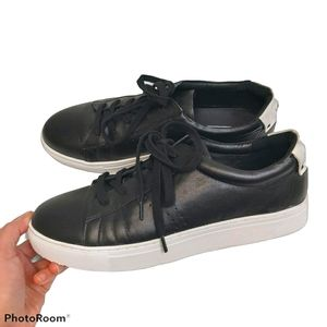 Sol Sana Black Leather Lace Up Sneakers sz 41